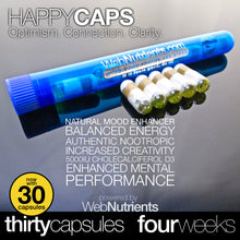 Load image into Gallery viewer, HappyCaps - Natural Brain and Mood Boosting Nutrition.