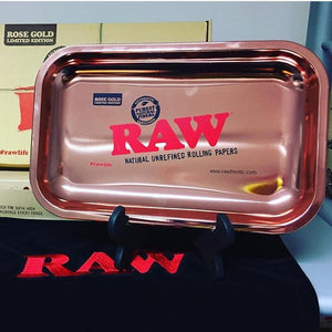 RAW vassoio 24KT ROSE GOLD Plated RAW 10 ANNIVERSARY Extremely LIMITED EDITION ROLLING TRAY