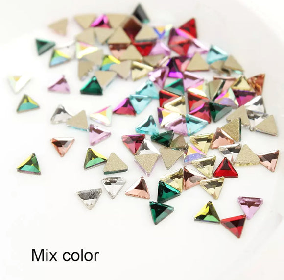 Crystals for nail design, 30pc, 3x3mm, mix of colors