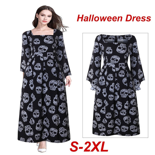 Womens Halloween Maxi Dress Bell Sleeve Skull Print Witch Long Costume