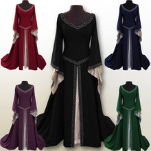 Load image into Gallery viewer, 6 Colors Fashion Women Long Sleeve Medieval Dress Renaissance Long Dress Casual Female Girl Wizard Cosplay Clothes High Quality