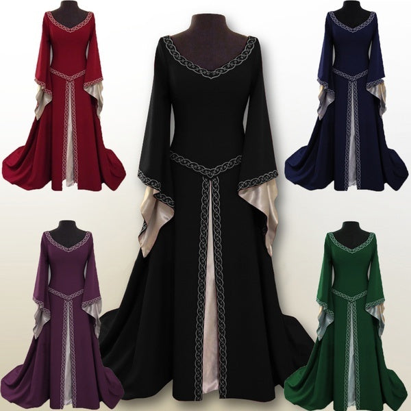 6 Colors Fashion Women Long Sleeve Medieval Dress Renaissance Long Dress Casual Female Girl Wizard Cosplay Clothes High Quality