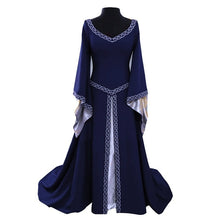 Load image into Gallery viewer, Women Autumn Flare Sleeve V-Neck Medieval Dress Witch Dark Magic Cosplay Renaissance Party Dress