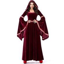 Load image into Gallery viewer, Fashion Red Vintage Long Sleeve Halloween Vampire Cosplay Witch Sorcerer Dress