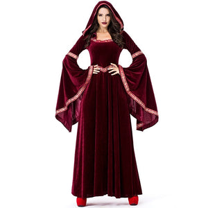 Fashion Red Vintage Long Sleeve Halloween Vampire Cosplay Witch Sorcerer Dress