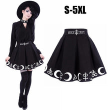 Load image into Gallery viewer, S-5XL Women Plus Size Black Elegent Restyle Witchcraft Moon & Occult Symbol Pleated Gothic Witch Lolita Skirt