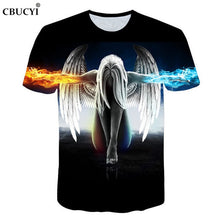 Load image into Gallery viewer, 2018 new fashion brand witchcraft T-shirt men and women summer 3d t-shirt printing ice fire angel short-sleeved T-shirt M-5XL