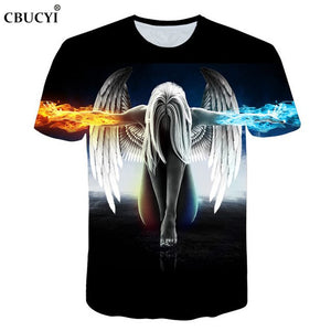2018 new fashion brand witchcraft T-shirt men and women summer 3d t-shirt printing ice fire angel short-sleeved T-shirt M-5XL