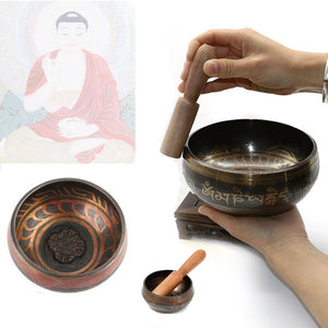Vintage Tibetan Buddhist Singing Bowl with Wood Hammer for Yoga Meditation Healing