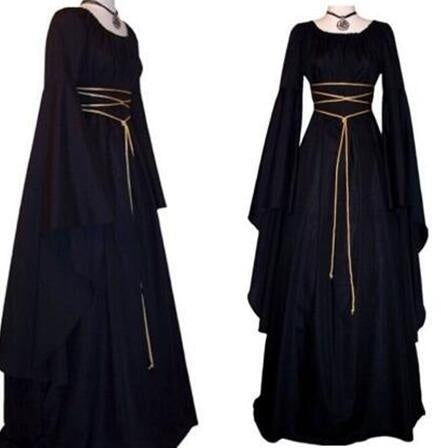 L-QA New Women Halloween Cosplay Black Witch Ceremony Dresses Renaissance Vintage Style Gothic Dress