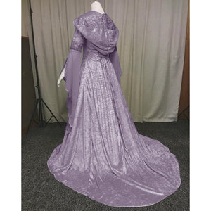 New Fashion Halloween Witch Lace Cosplay Dress Casual Ssolid Color Medieval Dress Retro Renaissance Court Dress Hooded Elegant D