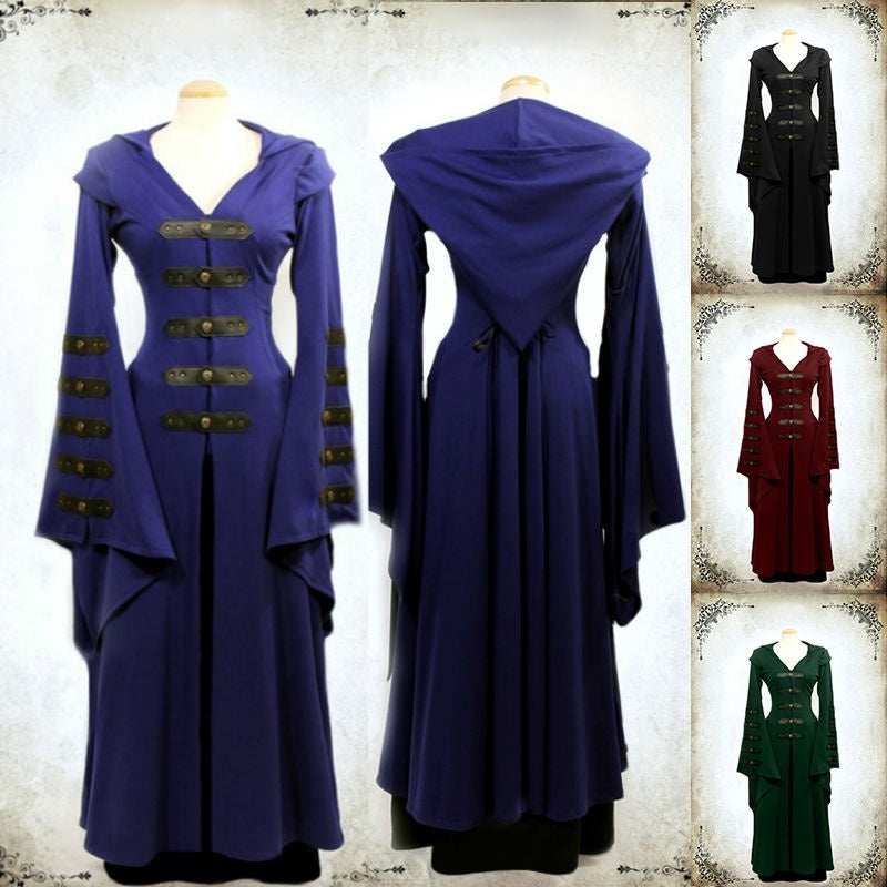 Women Vintage Medieval dress Pagan Wedding Hooded Dress Romantic Fantasy Gown Floor Length Renaissance Dress Cosplay Retro Witch