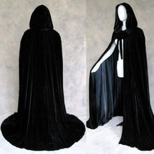 Load image into Gallery viewer, 2018 Halloween Hooded Cloak Black Velvet Cloak Christmas Cloaks Medieval Wedding Cape