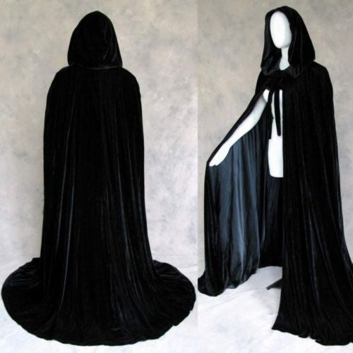2018 Halloween Hooded Cloak Black Velvet Cloak Christmas Cloaks Medieval Wedding Cape