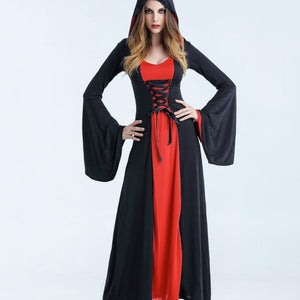 Women Vampire Witch Costumes Halloween Cosplay Masquerade Party Costume Gothic Adult Hoodie Witch Long Dress