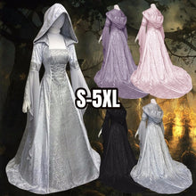 Load image into Gallery viewer, Halloween Medieval Dress Maiden Cosplay Dress Womens Vintage Ladies Hooded Tunic Trumpet Sleeves Long Dress High Waist Long Slee