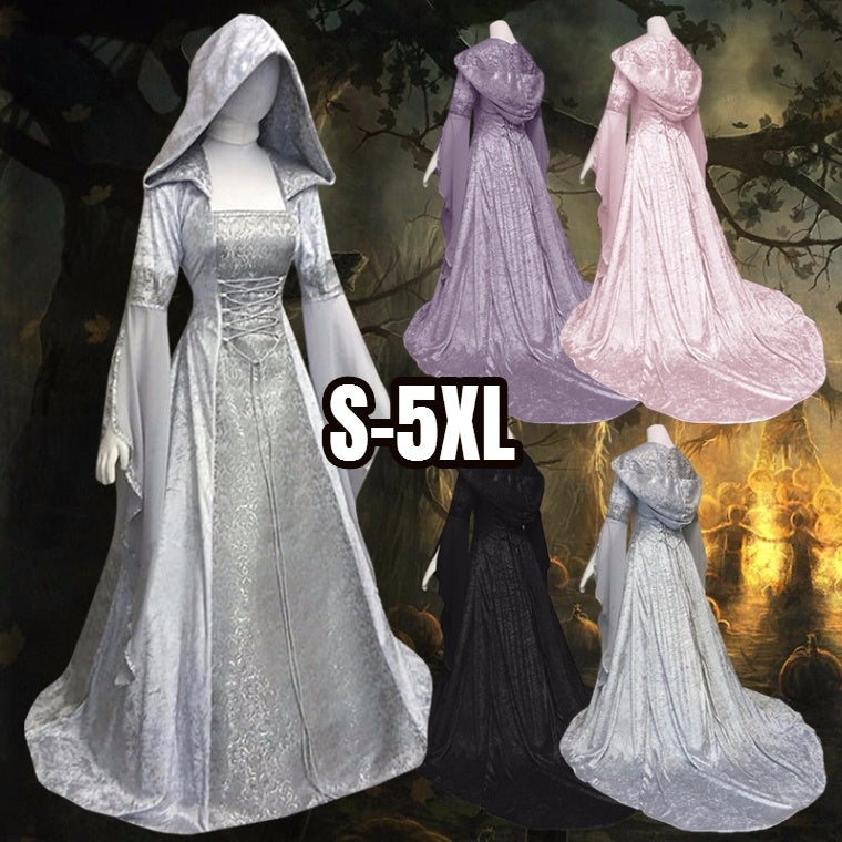 Halloween Medieval Dress Maiden Cosplay Dress Womens Vintage Ladies Hooded Tunic Trumpet Sleeves Long Dress High Waist Long Slee