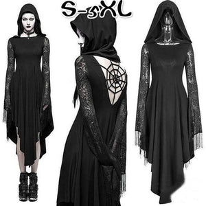 c61a8165a6b Gothic Cosplay Ghost Black Irregular Dresses Sexy Backless Hooded Dress  Halloween Costume Long Sleeve Witch Maxi Dress Plus Size