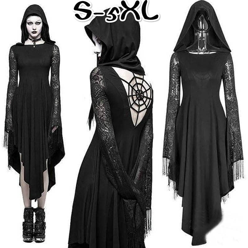 Gothic Cosplay Ghost Black Irregular Dresses Sexy Backless Hooded Dress Halloween Costume Long Sleeve Witch Maxi Dress Plus Size