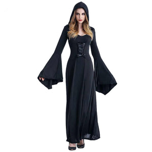 Medieval Sexy Gothic Witch Hooded Dress Adult Women Halloween Costumes Vampire Witch Party Masquerade Long Dress