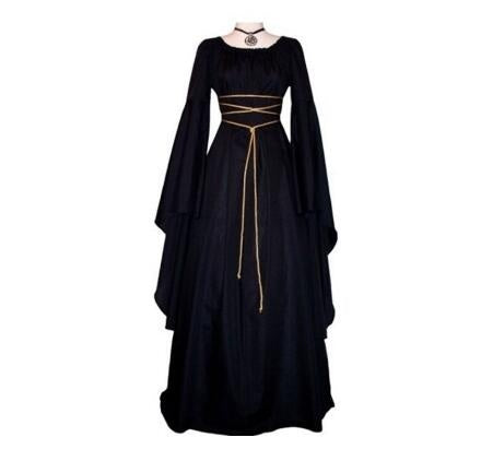 L-LIAN New Women Halloween Cosplay Black Witch Ceremony Dresses Renaissance Vintage Style Gothic Dress