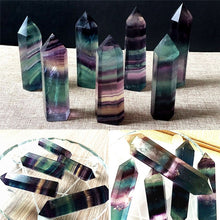 Load image into Gallery viewer, 100% Colorful Natural Fluorite Crystal 4.5-6.5CM Quartz Crystal Stone Point Healing Hexagonal Wand Treatment Stone
