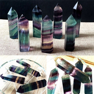 100% Colorful Natural Fluorite Crystal 4.5-6.5CM Quartz Crystal Stone Point Healing Hexagonal Wand Treatment Stone