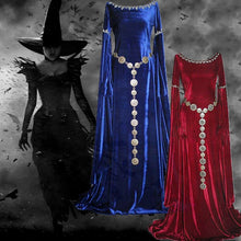 Load image into Gallery viewer, Sexy Women Medieval  Dress Renaissance Dress Autumn Winter Long Sleeve Super Long Cosplay Dress Plus Size Witch Pixie Festival P