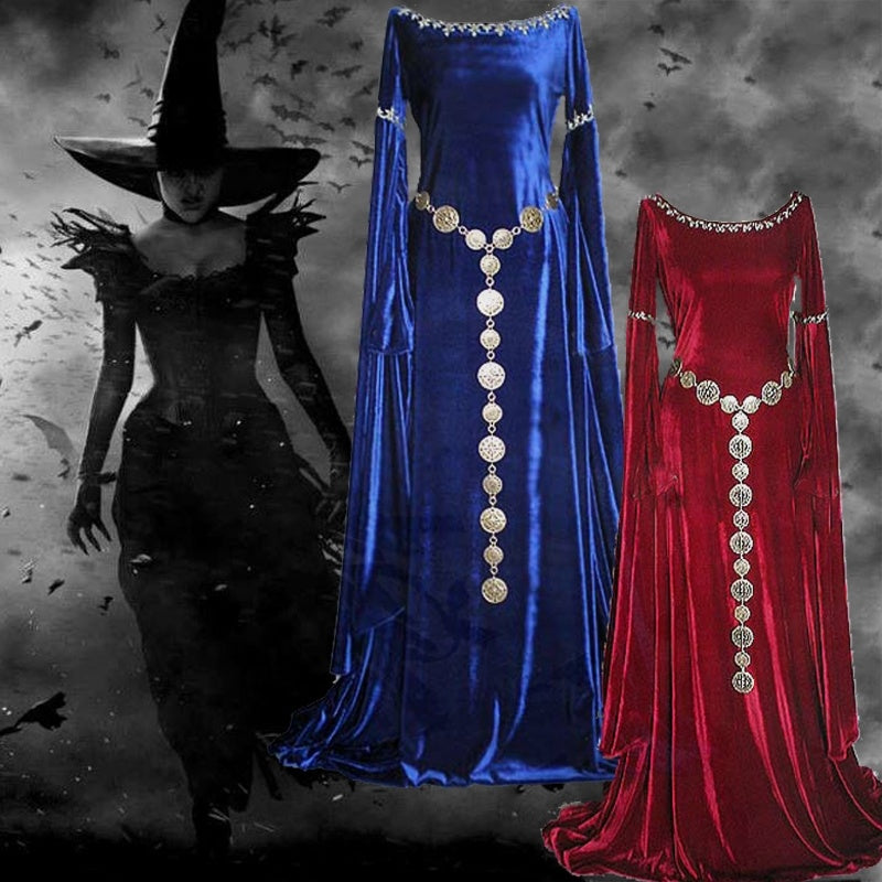 Sexy Women Medieval  Dress Renaissance Dress Autumn Winter Long Sleeve Super Long Cosplay Dress Plus Size Witch Pixie Festival P