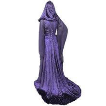 Load image into Gallery viewer, 3 Color Halloween Cosplay Costume Vintage High Quality Loose Noble Patchwork Witch Long Sleeve Maxi Dress