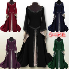 Load image into Gallery viewer, S-5XL Women's Summer Fashion Sexy Medieval Dress Casual Floor Length Cosplay Costume Velvet Dresses Sexy Lace Cloaks Cape Hallow