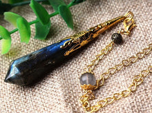 Load image into Gallery viewer, Tarot Divination Faceted Crystal Pendulum Moonstone Vintage Wicca Pagan Altar Props