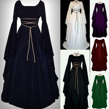 Load image into Gallery viewer, Women Medieval Dress Renaissance Retro Gown Cosplay Costume Dress Long Lseeve Maxi Dress Bandage Dresses New Fashion