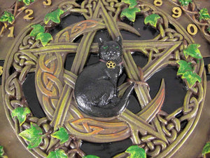 Black Cat Crescent Moon Pentacle  Glass Top Spirit Board