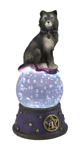 Majestic Wolf LED Lighted Crystal Ball Statue Pagan Wicca Pentacle