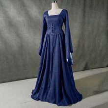 Load image into Gallery viewer, Women Medieval Vintage Long Dress Goth Fantasy Gown Dress Floor Length Renaissance Dresses Cosplay Retro Witch Dress Plus Size