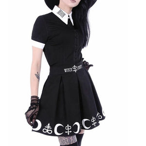 S-5XL Women Plus Size Black Elegent Restyle Witchcraft Moon & Occult Symbol Pleated Gothic Witch Lolita Skirt