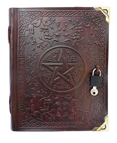 Handmade Leather Journal Diary Pentacle Design Leather notebook Sketchbook Gift Book 9x7