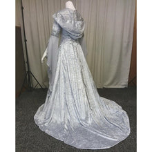 Load image into Gallery viewer, New Fashion Halloween Witch Lace Cosplay Dress Casual Ssolid Color Medieval Dress Retro Renaissance Court Dress Hooded Elegant D
