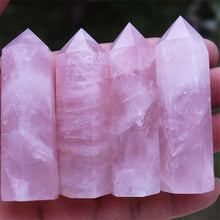 Load image into Gallery viewer, 100% Natural Rock Pink Rose Quartz Crystal Wand Point Healing Stone 50-60MM