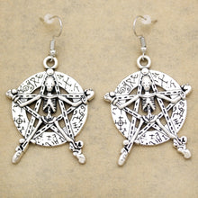 Load image into Gallery viewer, Catholic Silver Pentacle Pentagram Star Skull Witch Wiccan Pagan Dangle Earrings Fancy Dress Women Oorbellen Jewelry Orecchini