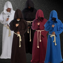 Load image into Gallery viewer, Cloak Hooded Cape Robe Medieval Renaissance Monk Costume Xmas Halloween Gothic Wicca Witchcraft Larp Vampire Fancy Dress