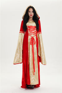 Free shipping  red leopard hooded  Medieval Style Renaissance Dress Costume Gown Pagan Fancy Dress L XL 2XL