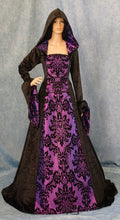 Load image into Gallery viewer, Gothic Dress Medieval Dress Renaissance Dress Hooded Gown Scottish Widow Hood Pagan Gown