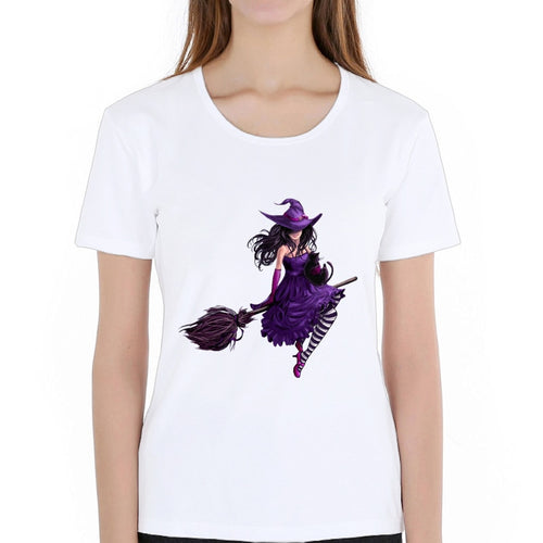 New Fashion Princess Witchcraft Purple Witch Queen Printed T-shirts Women Summer Short Sleeve Casual White Tops T shirts