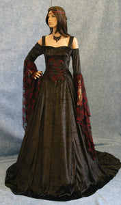 Renaissance Medieval Gothic Theater Dress Pagan Wicca Renaissance Dress Black Dress Plus Size