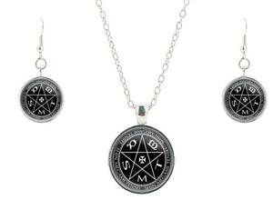 S925 Shin Megami SMT witchcraft pentagram glass jewelry set vintage friendship necklace pendant earring bijoux jewelry