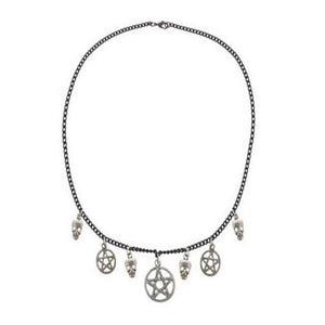 Witchcraft Big Pentagram Skull Necklace Pendant Vintage Silver Charms Gothic Choker Collares Statement Necklace  Jewelry Women