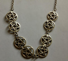 Load image into Gallery viewer, Witchcraft Pentagram Combination Necklace Pendant Vintage Bronze Silver Charm Choker Collar Statement Necklace For Women Jewelry