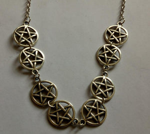 Witchcraft Pentagram Combination Necklace Pendant Vintage Bronze Silver Charm Choker Collar Statement Necklace For Women Jewelry